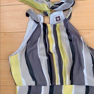 Anne Klein Halter Yellow Black Grey Long Dress 2P